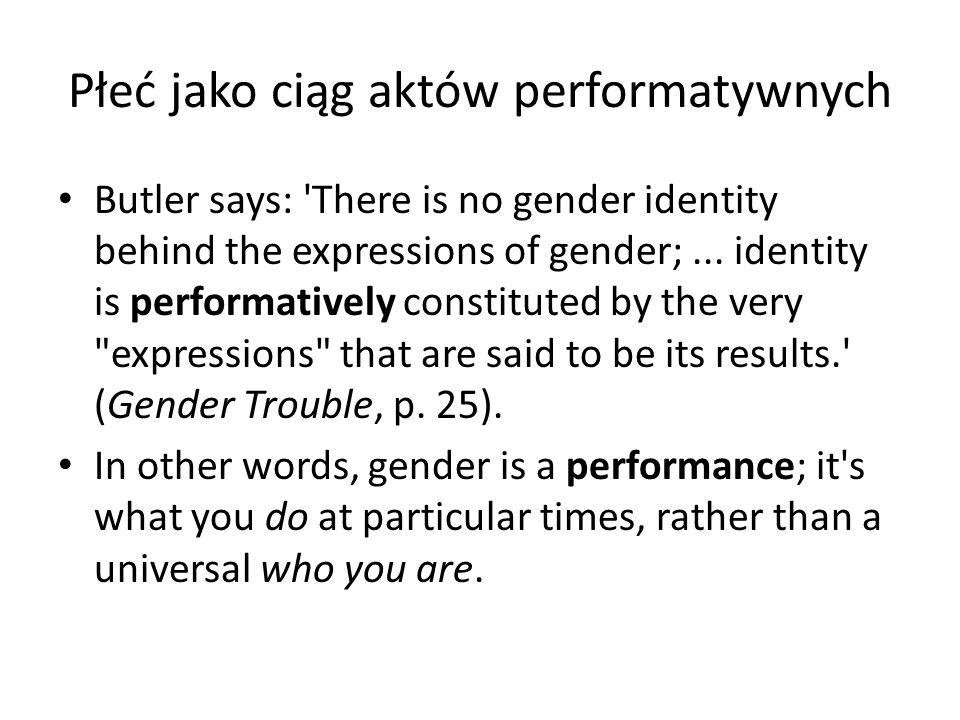 Płeć jako ciąg aktów performatywnych