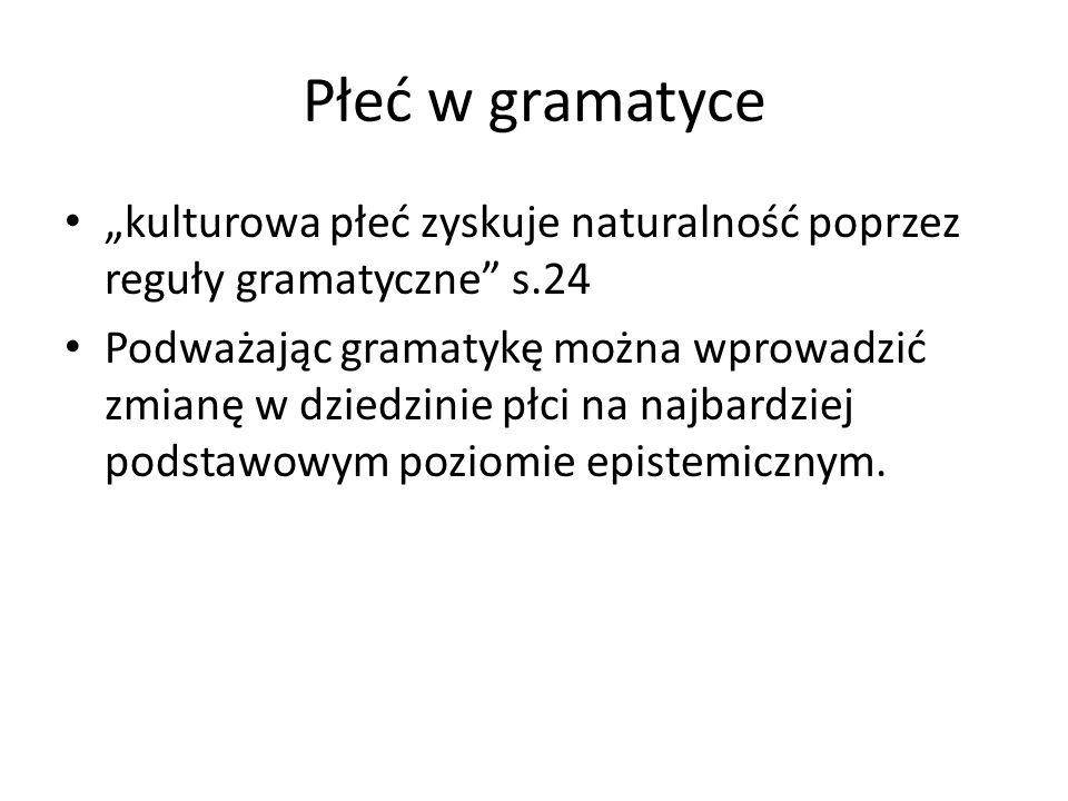 """Płeć w gramatyce """"kulturowa płeć zyskuje naturalność poprzez reguły gramatyczne s.24."""