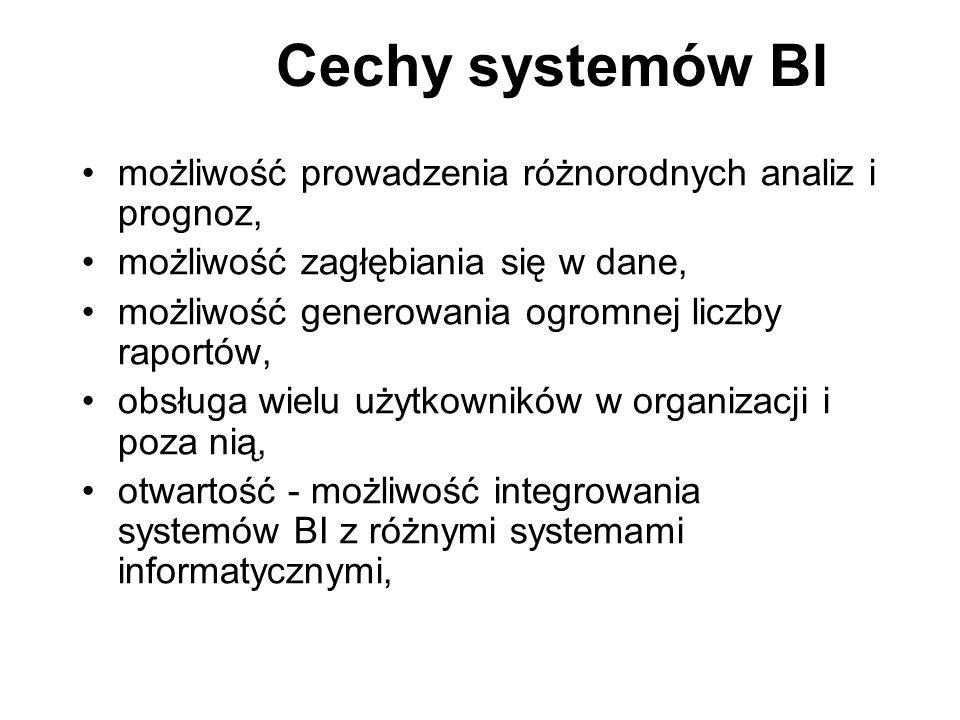 Cechy systemów BI możliwość prowadzenia różnorodnych analiz i prognoz,