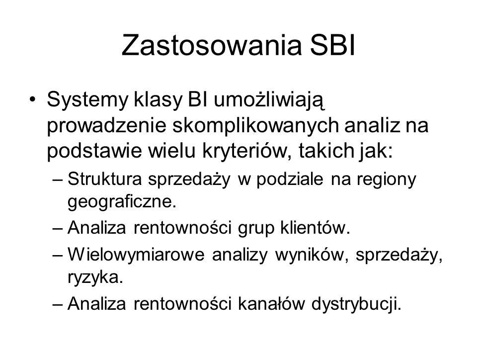 Zastosowania SBI Systemy klasy BI umożliwiają prowadzenie skomplikowanych analiz na podstawie wielu kryteriów, takich jak: