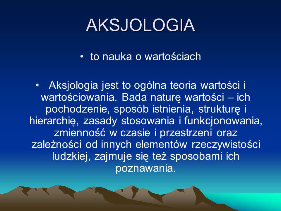 AKSJOLOGIA to nauka o wartościach