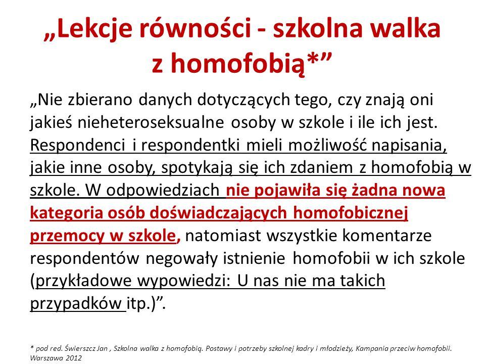 """""""Lekcje równości - szkolna walka z homofobią*"""