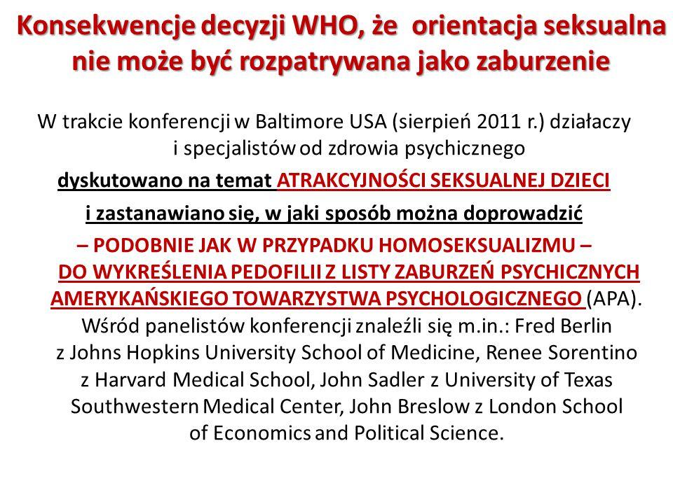 Konsekwencje decyzji WHO, że orientacja seksualna nie może być rozpatrywana jako zaburzenie