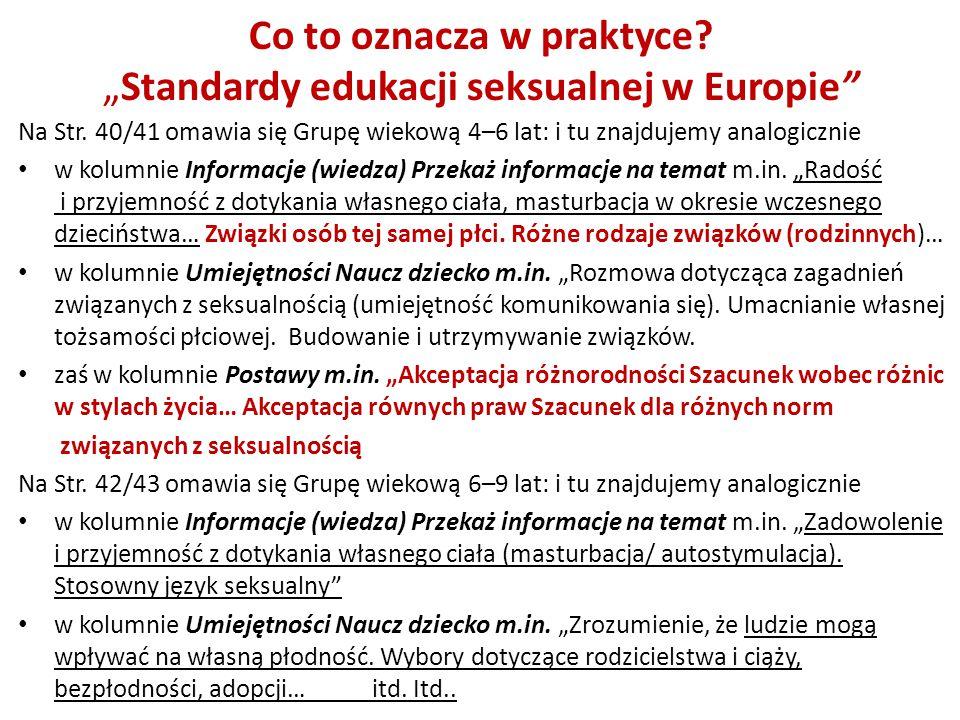 """Co to oznacza w praktyce """"Standardy edukacji seksualnej w Europie"""