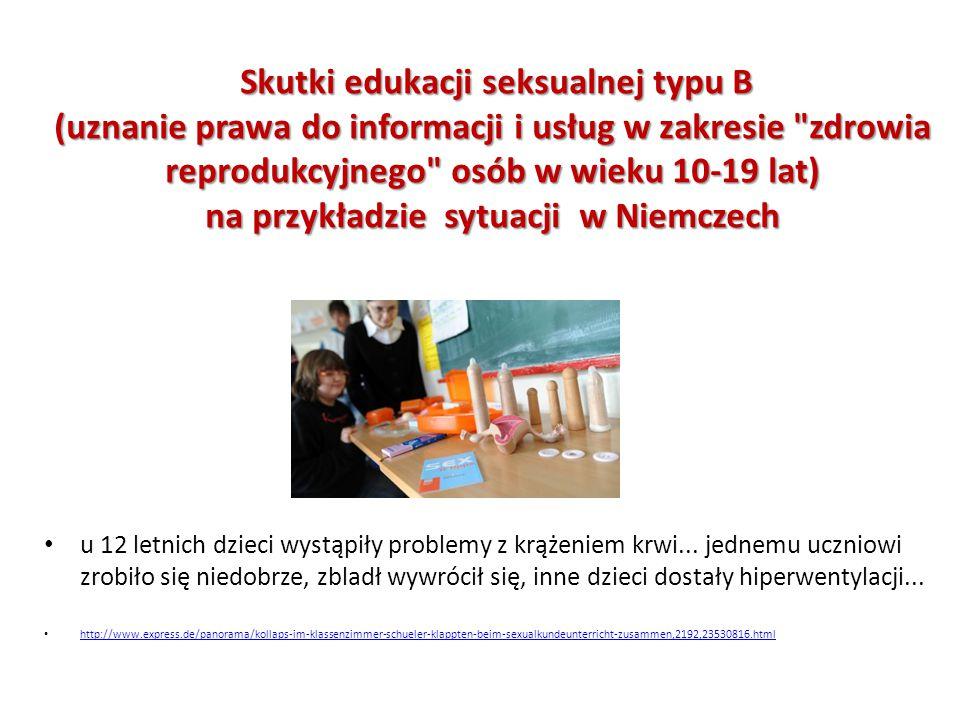 Skutki edukacji seksualnej typu B (uznanie prawa do informacji i usług w zakresie zdrowia reprodukcyjnego osób w wieku 10-19 lat) na przykładzie sytuacji w Niemczech