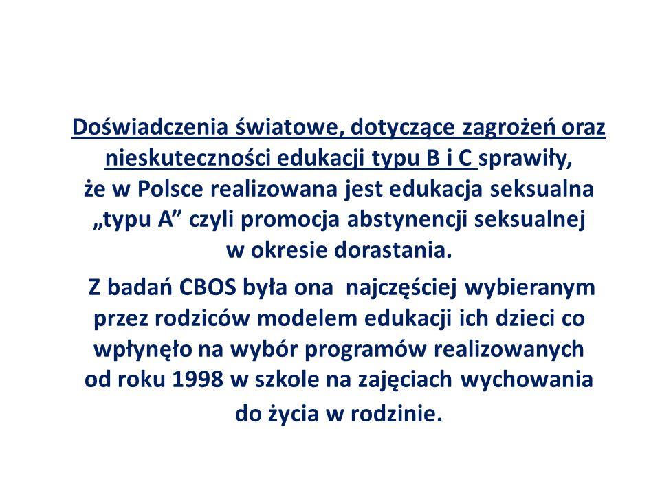 """Doświadczenia światowe, dotyczące zagrożeń oraz nieskuteczności edukacji typu B i C sprawiły, że w Polsce realizowana jest edukacja seksualna """"typu A czyli promocja abstynencji seksualnej w okresie dorastania."""