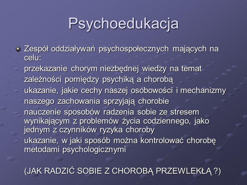 Psychoedukacja Zespół oddziaływań psychospołecznych mających na celu: