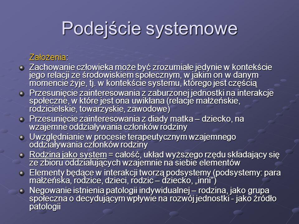 Podejście systemowe Założenia:
