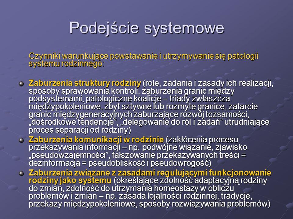 Podejście systemowe Czynniki warunkujące powstawanie i utrzymywanie się patologii systemu rodzinnego: