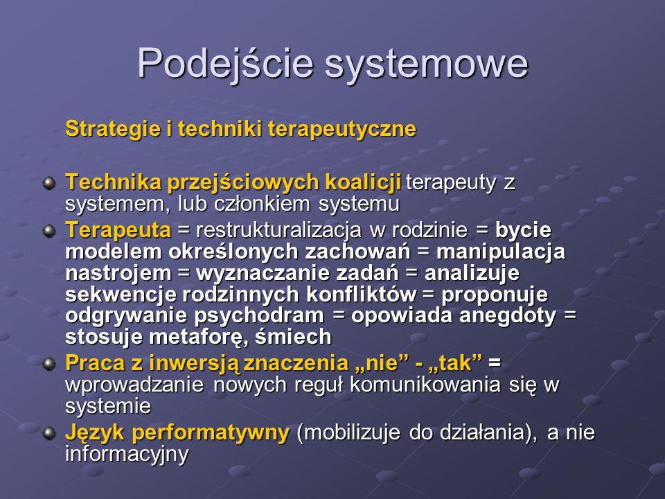 Podejście systemowe Strategie i techniki terapeutyczne