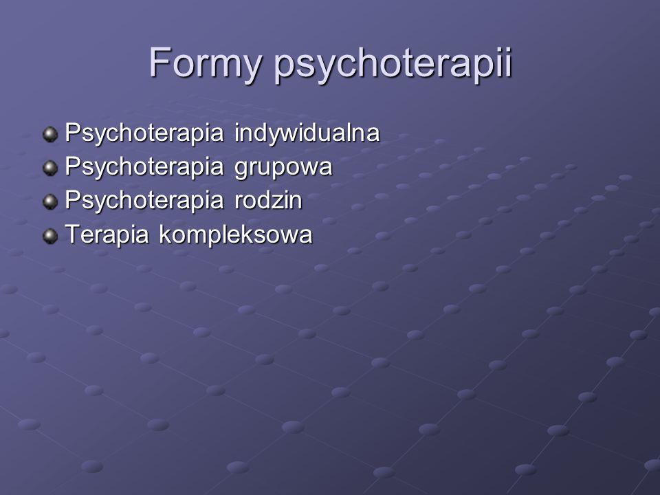 Formy psychoterapii Psychoterapia indywidualna Psychoterapia grupowa