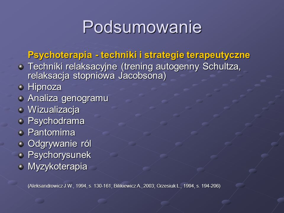 Podsumowanie Psychoterapia - techniki i strategie terapeutyczne