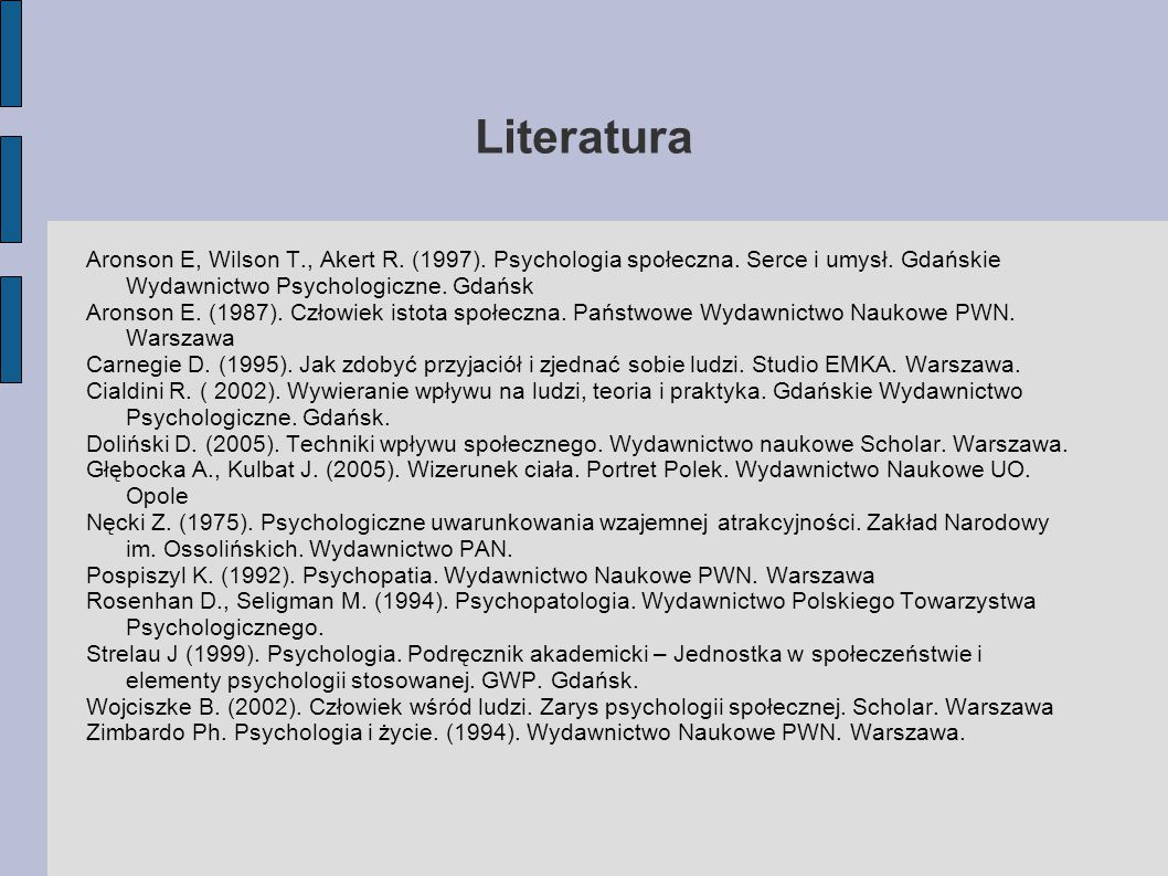 Literatura Aronson E, Wilson T., Akert R. (1997). Psychologia społeczna. Serce i umysł. Gdańskie Wydawnictwo Psychologiczne. Gdańsk.