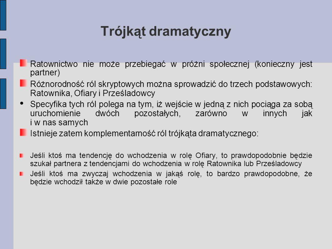 Trójkąt dramatyczny Ratownictwo nie może przebiegać w próżni społecznej (konieczny jest partner)
