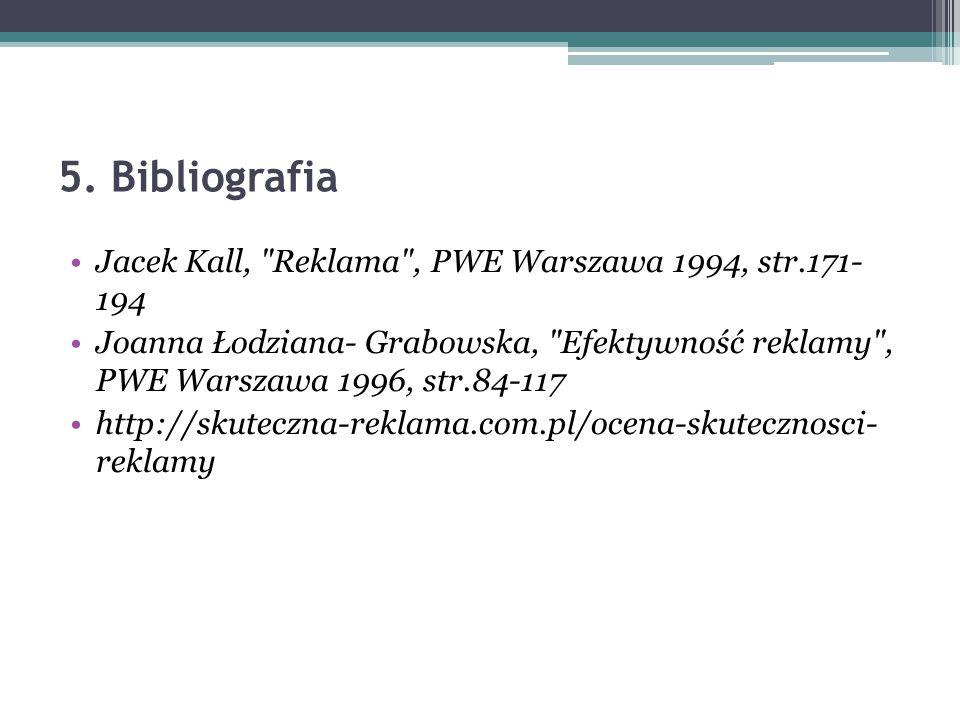5. Bibliografia Jacek Kall, Reklama , PWE Warszawa 1994, str.171- 194
