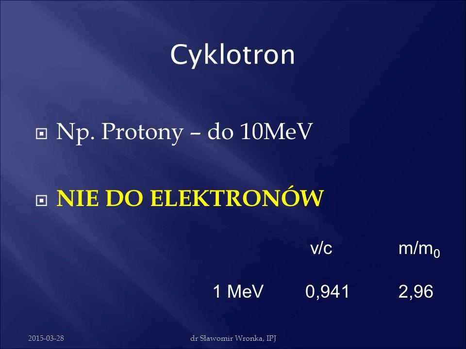 Cyklotron Np. Protony – do 10MeV NIE DO ELEKTRONÓW v/c m/m0