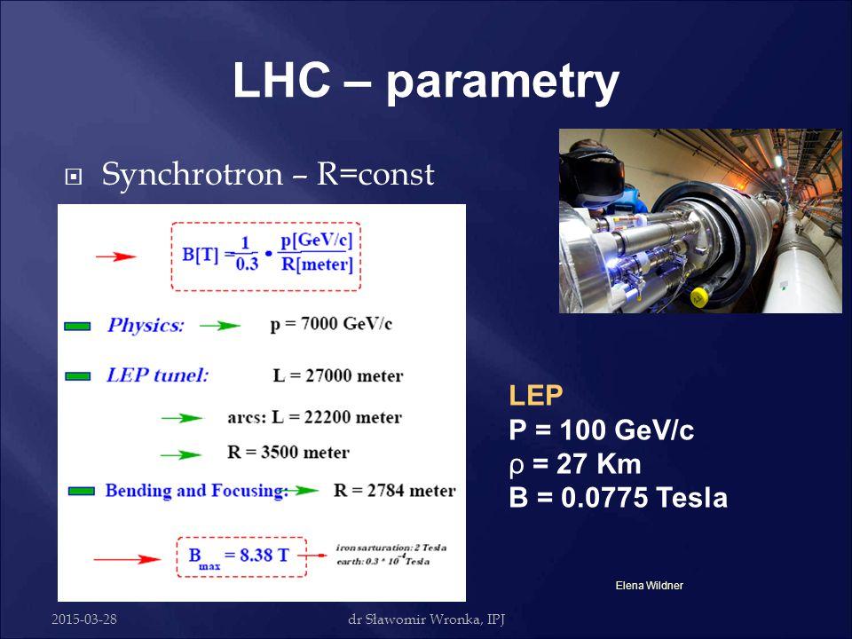 LHC – parametry Synchrotron – R=const LEP P = 100 GeV/c ρ = 27 Km