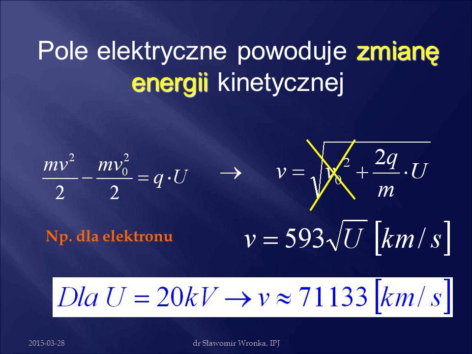 Pole elektryczne powoduje zmianę energii kinetycznej