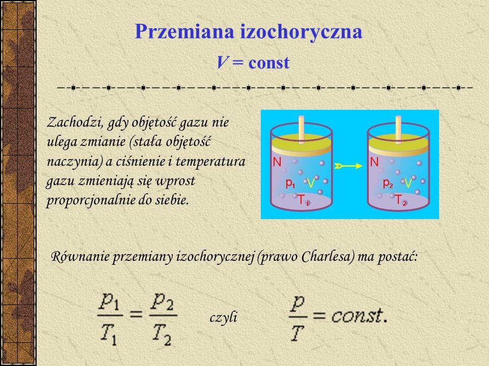 Zachodzi, gdy objętość gazu nie ulega zmianie (stała objętość naczynia) a ciśnienie i temperatura gazu zmieniają się wprost proporcjonalnie do siebie.