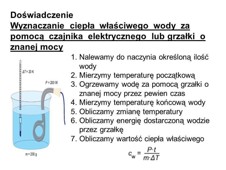 Doświadczenie Wyznaczanie ciepła właściwego wody za pomocą czajnika elektrycznego lub grzałki o znanej mocy.