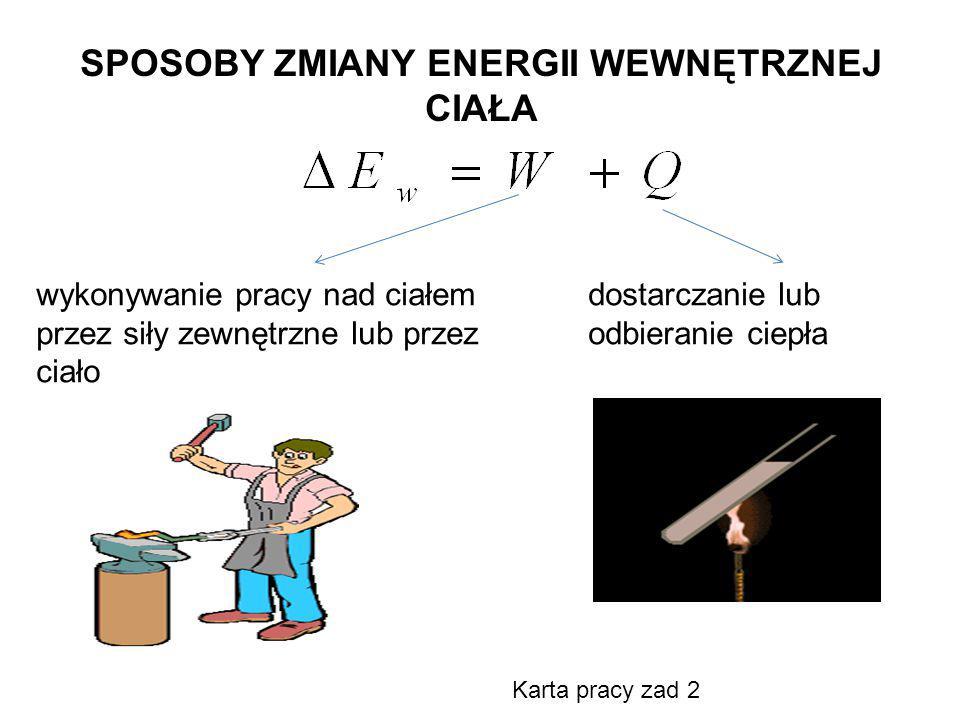 SPOSOBY ZMIANY ENERGII WEWNĘTRZNEJ CIAŁA