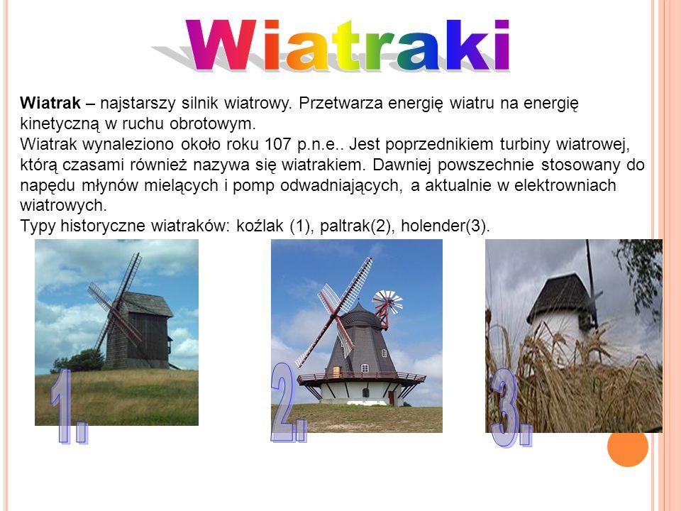 Wiatraki Wiatrak – najstarszy silnik wiatrowy. Przetwarza energię wiatru na energię kinetyczną w ruchu obrotowym.