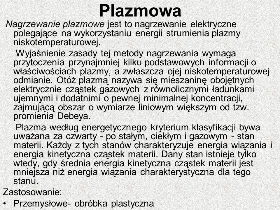 Plazmowa Nagrzewanie plazmowe jest to nagrzewanie elektryczne polegające na wykorzystaniu energii strumienia plazmy niskotemperaturowej.