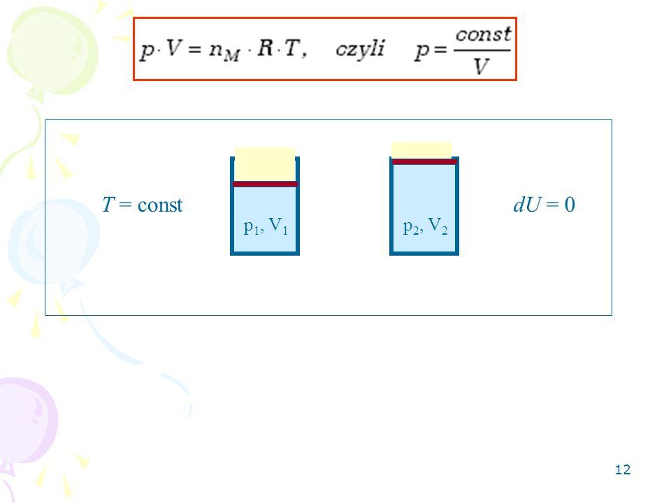 T = const dU = 0 p1, V1 p2, V2