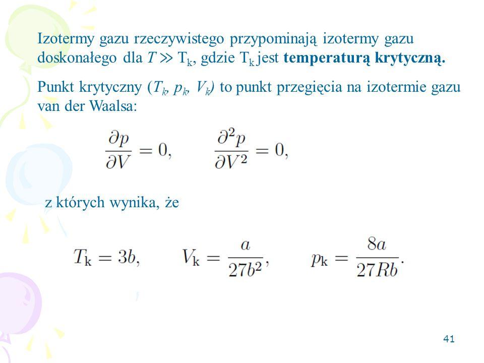 Izotermy gazu rzeczywistego przypominają izotermy gazu doskonałego dla T ≫ Tk, gdzie Tk jest temperaturą krytyczną.