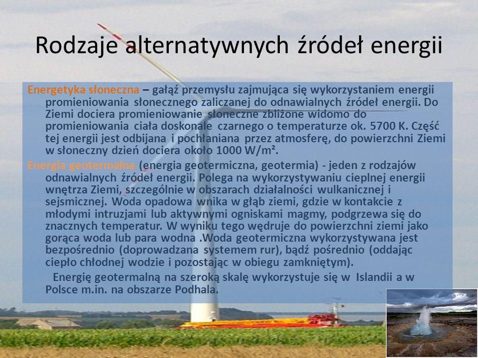 Rodzaje alternatywnych źródeł energii