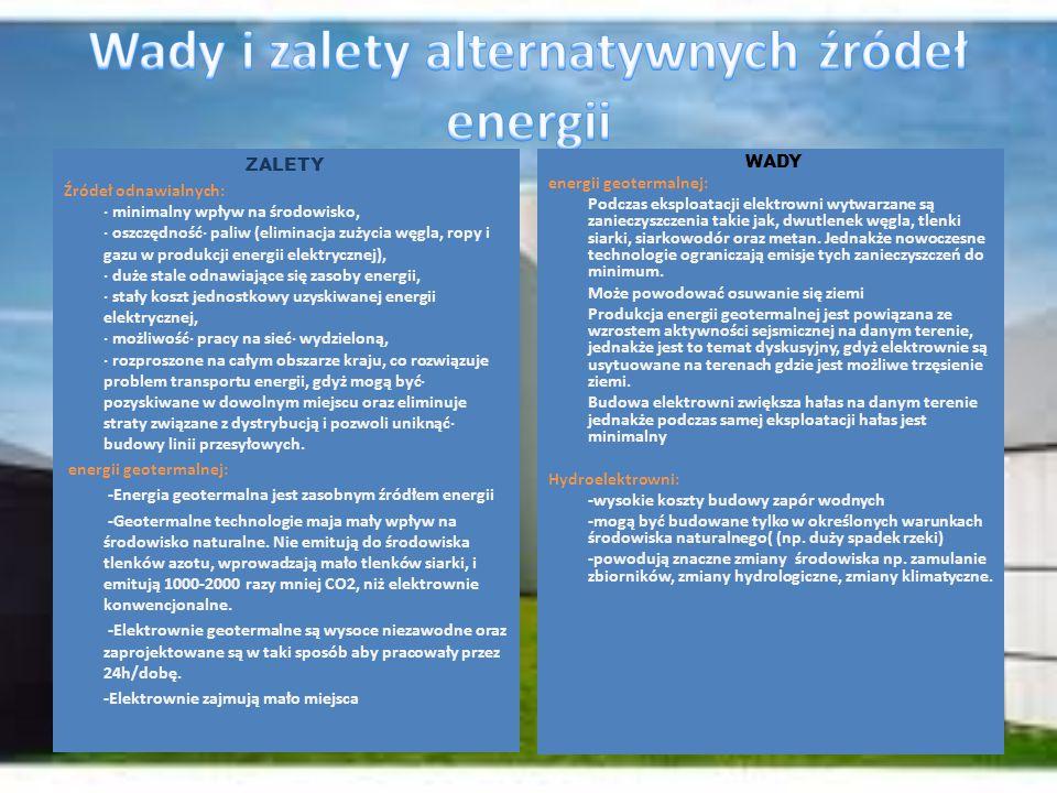 Wady i zalety alternatywnych źródeł energii