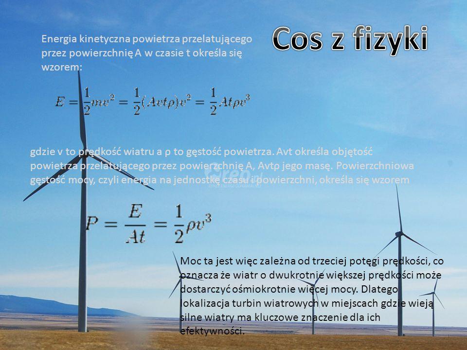 Cos z fizyki Energia kinetyczna powietrza przelatującego przez powierzchnię A w czasie t określa się wzorem: