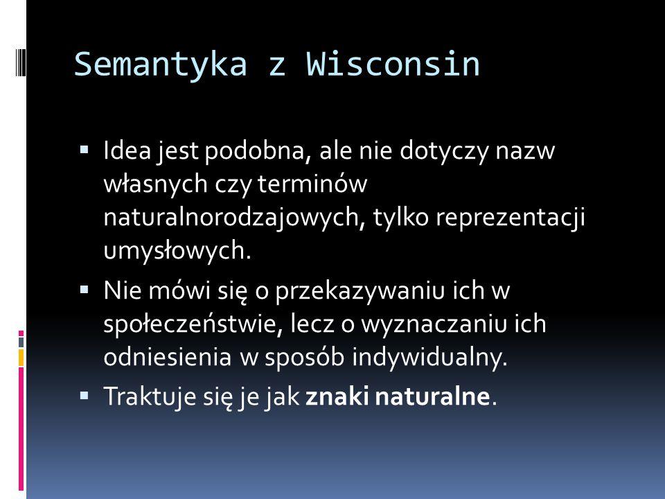 Semantyka z Wisconsin Idea jest podobna, ale nie dotyczy nazw własnych czy terminów naturalnorodzajowych, tylko reprezentacji umysłowych.