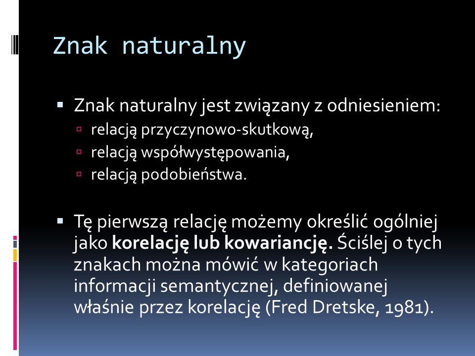 Znak naturalny Znak naturalny jest związany z odniesieniem: