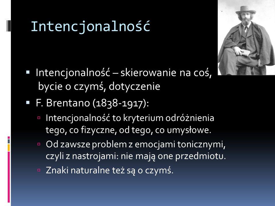 Intencjonalność Intencjonalność – skierowanie na coś, bycie o czymś, dotyczenie. F. Brentano (1838-1917):
