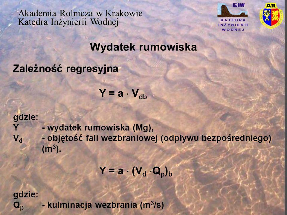 Wydatek rumowiska Zależność regresyjna Y = a  Vdb