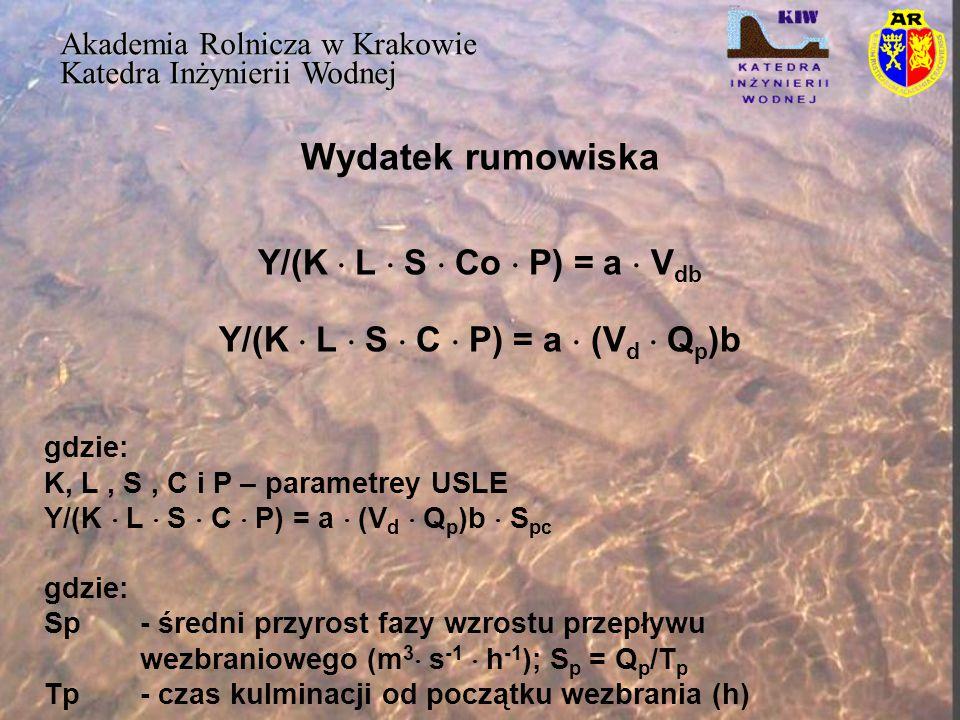 Wydatek rumowiska Y/(K  L  S  Co  P) = a  Vdb