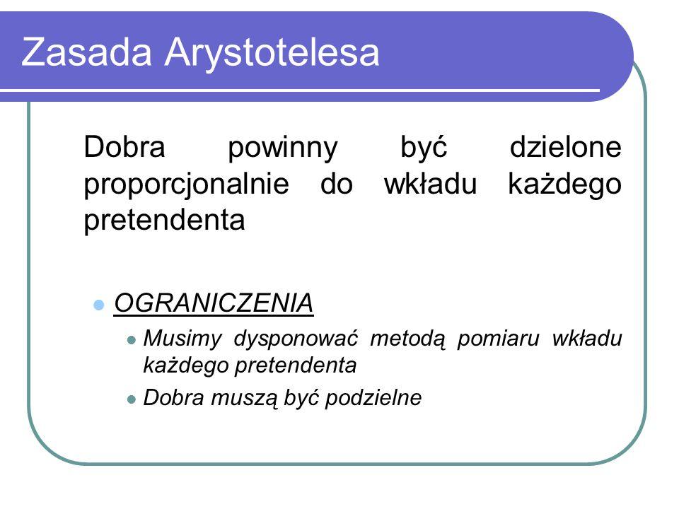 Zasada Arystotelesa Dobra powinny być dzielone proporcjonalnie do wkładu każdego pretendenta. OGRANICZENIA.