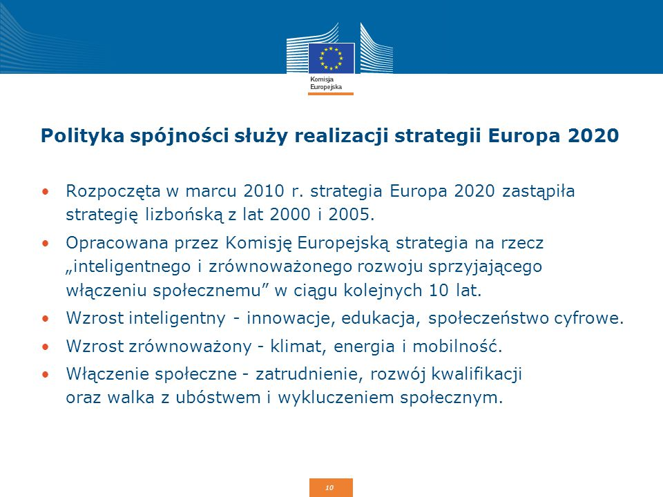 Polityka spójności służy realizacji strategii Europa 2020