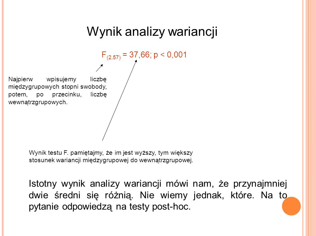 Wynik analizy wariancji