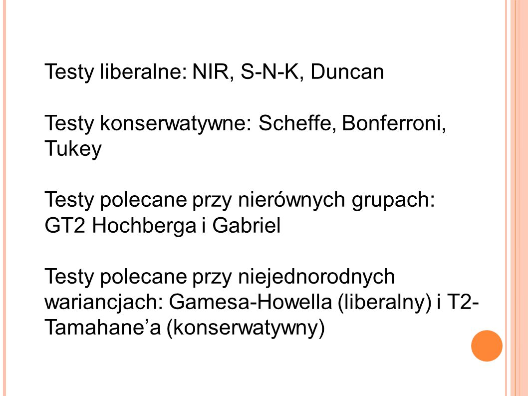 Testy liberalne: NIR, S-N-K, Duncan