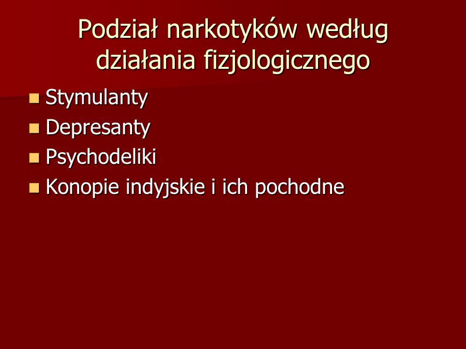 Podział narkotyków według działania fizjologicznego