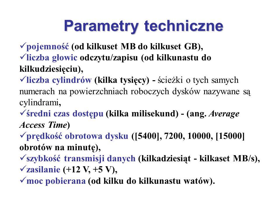 Parametry techniczne pojemność (od kilkuset MB do kilkuset GB),
