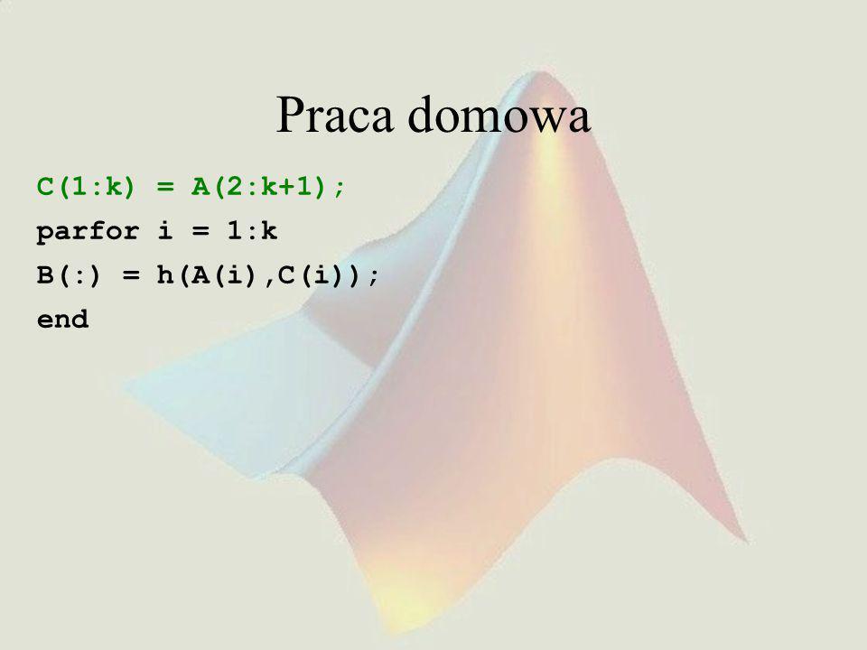 Praca domowa C(1:k) = A(2:k+1); parfor i = 1:k B(:) = h(A(i),C(i));