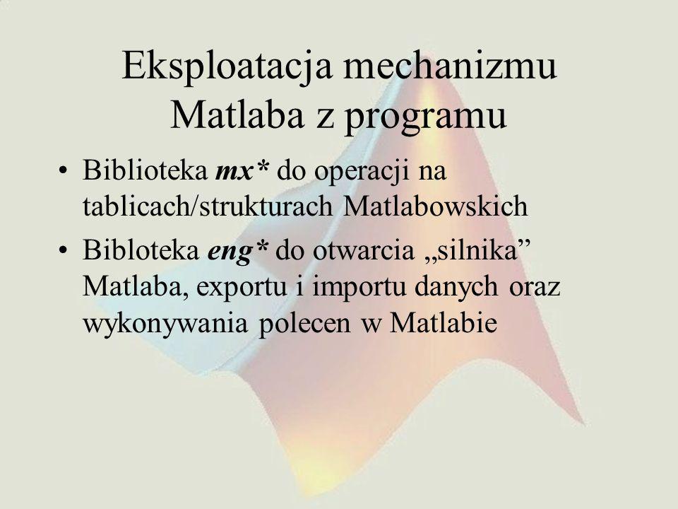 Eksploatacja mechanizmu Matlaba z programu