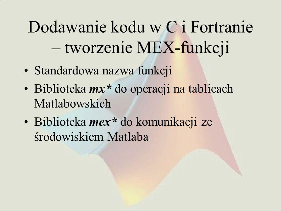 Dodawanie kodu w C i Fortranie – tworzenie MEX-funkcji
