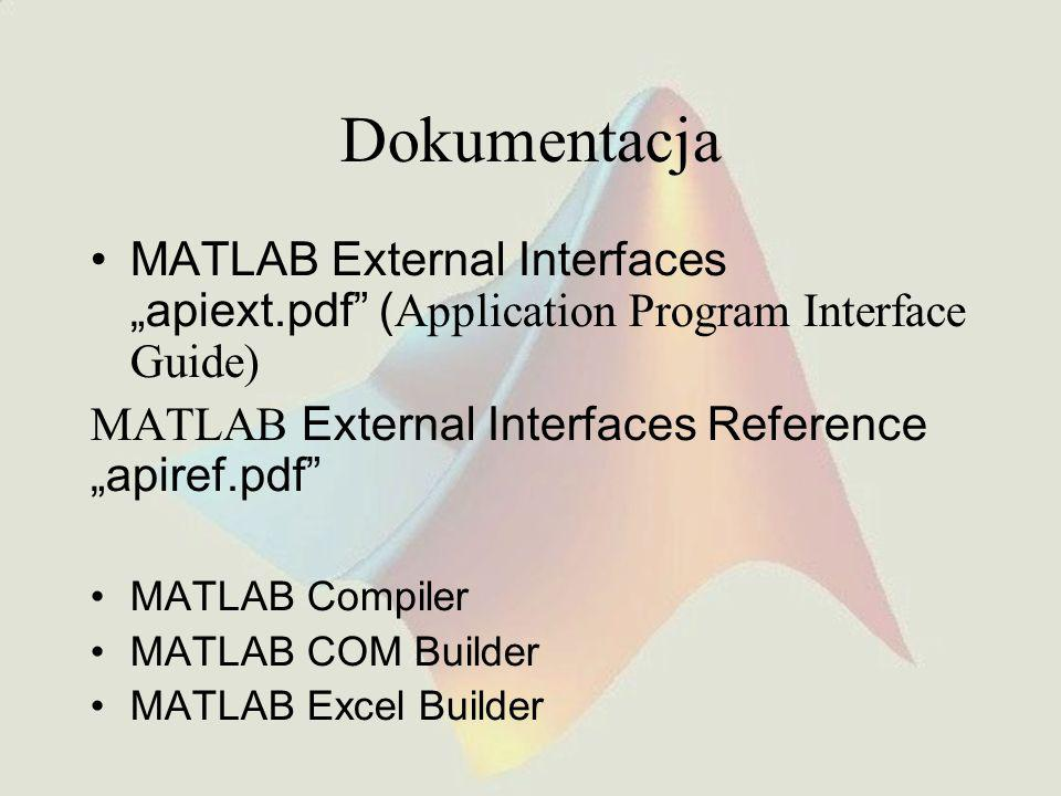 "Dokumentacja MATLAB External Interfaces ""apiext.pdf (Application Program Interface Guide) MATLAB External Interfaces Reference ""apiref.pdf"