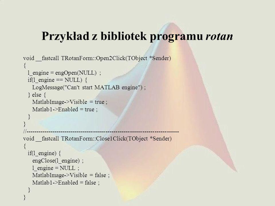 Przykład z bibliotek programu rotan