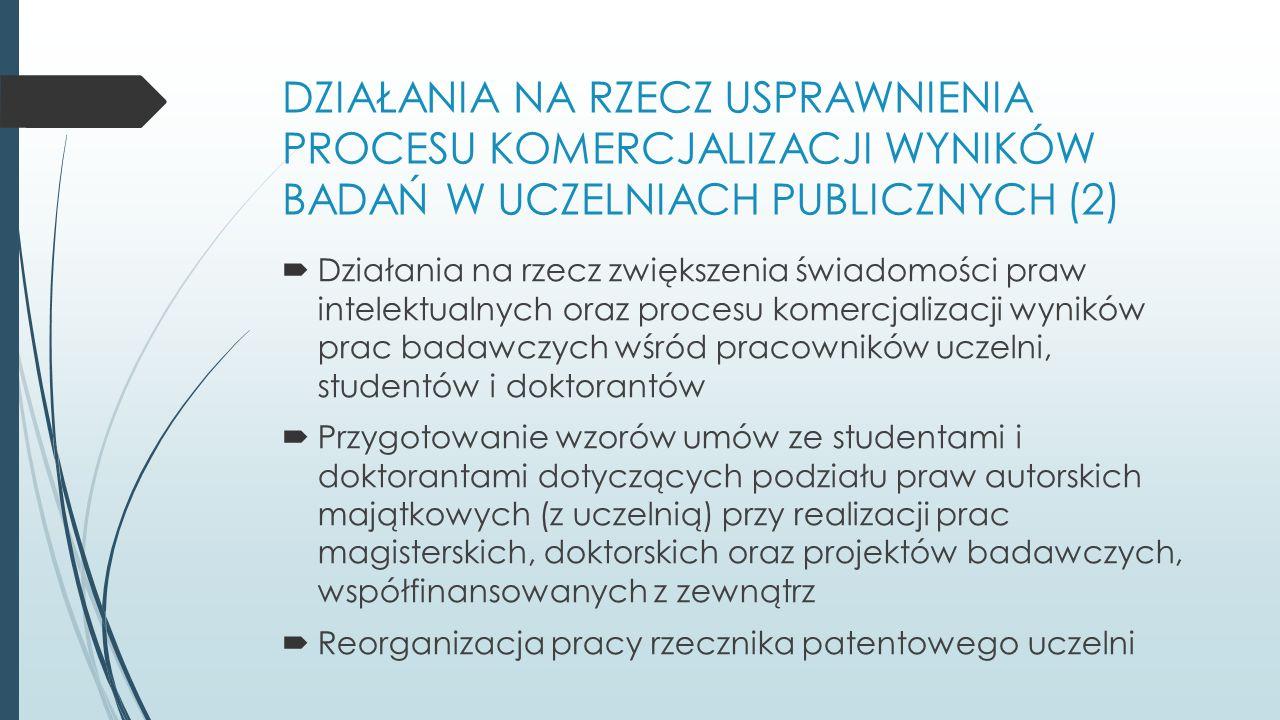 DZIAŁANIA NA RZECZ USPRAWNIENIA PROCESU KOMERCJALIZACJI WYNIKÓW BADAŃ W UCZELNIACH PUBLICZNYCH (2)