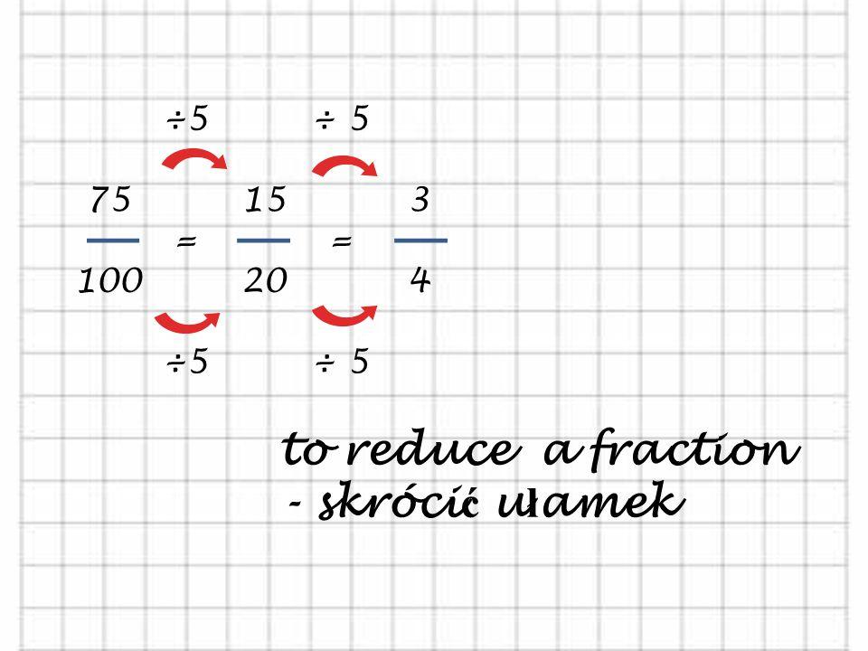to reduce a fraction - skrócić ułamek